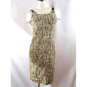 Michael Kors Size 4 Midi Dress  Brown Taupe Linen